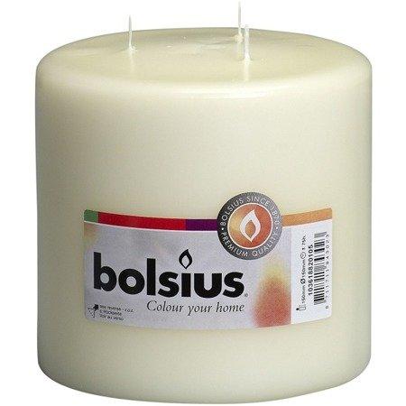 Bolsius Pillar Candle świeca bryłowa pieńkowa trzy knoty 200/150 mm - Kremowa