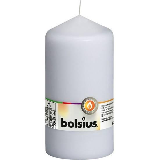 Bolsius świeca bryłowa pieńkowa słupek bezzapachowa 15cm 150/78 mm - Biała