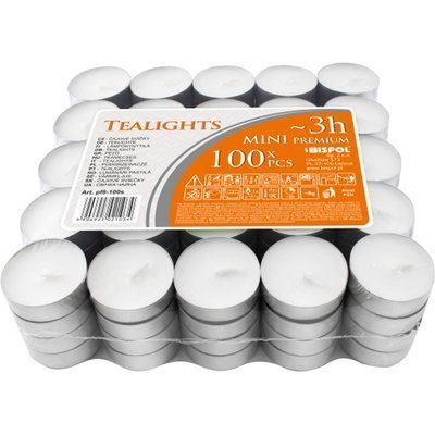 Bispol Mini Premium Lights unscented tealights ~ 3 h 100 pcs white