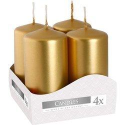 Bispol votive unscented solid candle set 4 pcs 80/38 mm - Gold metallic