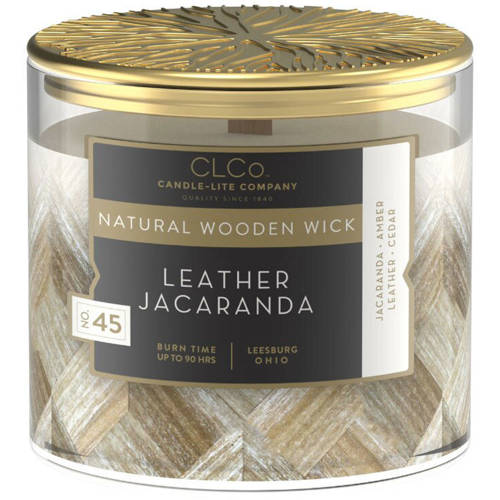 Candle-lite CLCo Luxury Scented Candle Wooden Wick 14 oz 396 g - No. 45 Leather Jacaranda