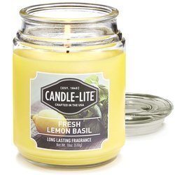 Candle-lite Everyday large scented candle in a glass jar 18 oz 510 g - Fresh Lemon Basil