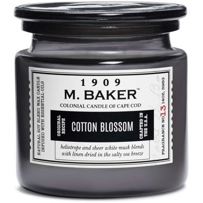 Colonial Candle M. Baker large soy scented candle apothecary jar 14 oz 396 g - Cotton Blossom