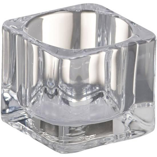 Bolsius glass transparent tealight candle holder square 40/55 mm
