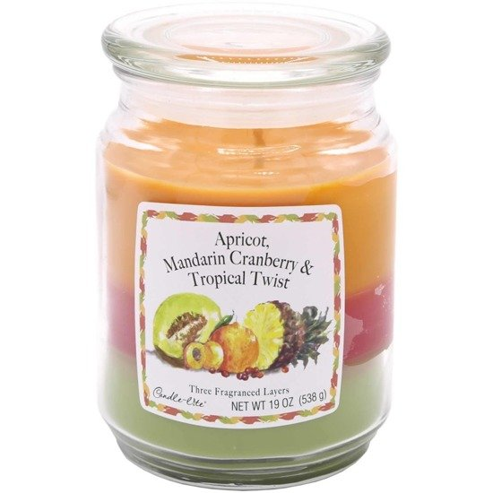 Candle-lite 3-Layer Collection Scented Glass Jar Candle 19 oz 538 g - Apricot, Mandarin Cranberry, Tropical Twist