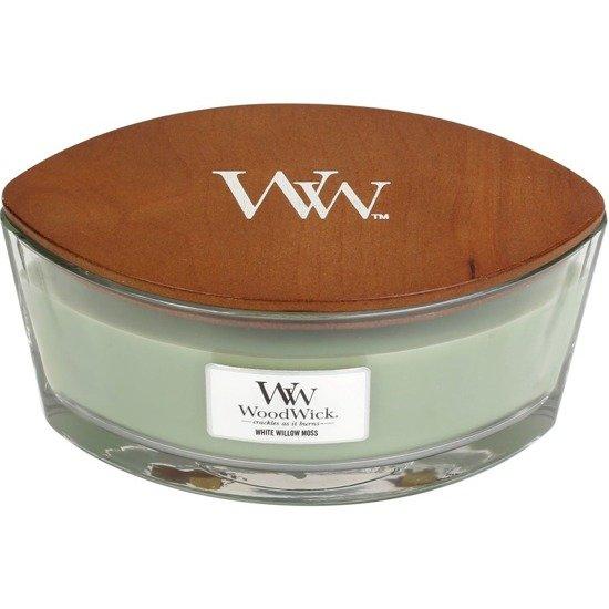 WoodWick Core Heartwick Candle świeca zapachowa z drewnianym knotem w szkle łódka ~ 60 h - White Willow Moss