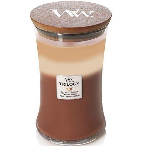 WoodWick Core Large Trilogy Candle świeca zapachowa trójkolorowa sojowa w szkle ~ 175 h - Spiced Confections