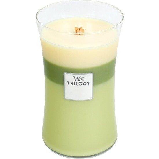 WoodWick Core Large Trilogy Candle świeca zapachowa trójkolorowa z drewnianym knotem w szkle ~ 175 h - Garden Oasis