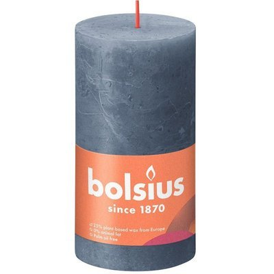 Bolsius Rustic Shine unscented solid pillar candle 130/68 mm 13 cm - Midnight Blue