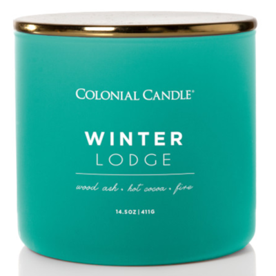 Colonial Candle Pop of Color large soy scented candle 3 wicks 14.5 oz 411 g - Winter Lodge
