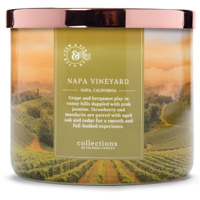 Colonial Candle Travel large soy scented candle 3 wicks 14.5 oz 411 g - Napa Vineyard